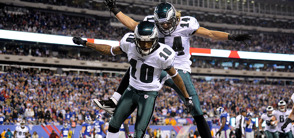 Philadelphia Eagles wide receivers Riley Cooper (14) and DeSean Jackson (10) celebrate Riley's 8 yard reception good for a touchdown to put the Eagles ahead late in the fourth quarter during the NFL week 11 regular season football game against the New York Giants on Sunday November 20, 2011 at MetLife Stadium in East Rutherford, New Jersey. The Eagles won the game 17-10. (AP Photo / Jim Mahoney)
