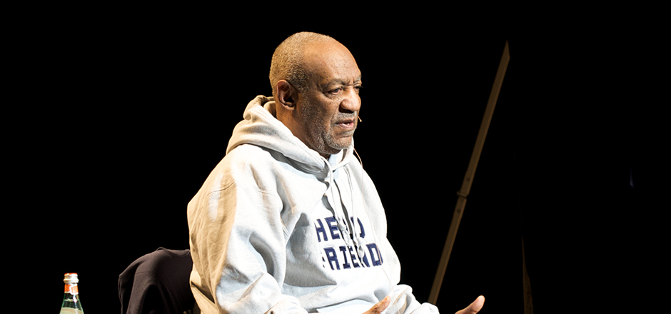 From his chair on stage in Eisenhower Auditorium, comedian Bill Cosby gestures to the audience, winning smiles and extended laughter from the packed venue at the first of two performances on Friday, Jan. 23. His routine included loads of marriage advice, and a variation of his comic standard about a dentist's office visit.