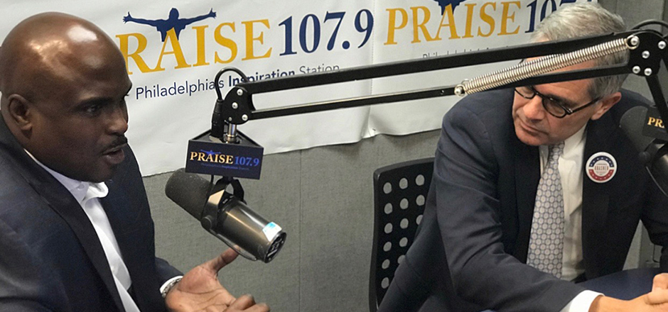 Solomon Jones interviews Larry Krasner at Praise 107.9 FM